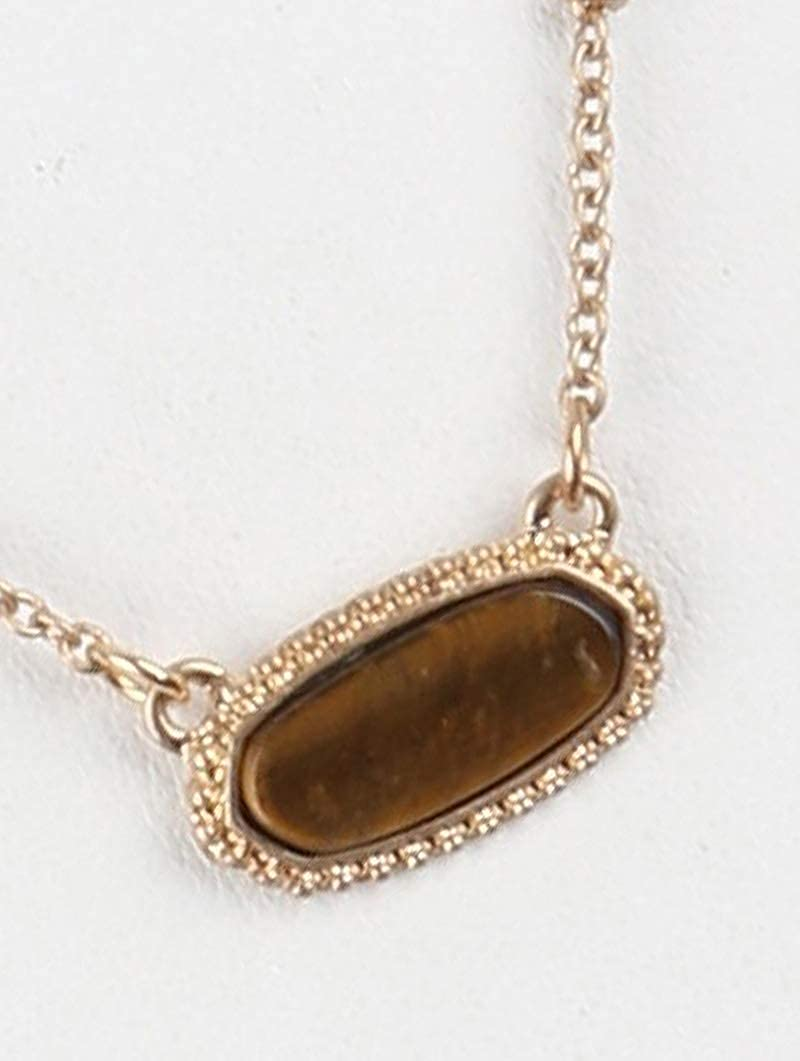 Fashion Jewelry ~ Brown Natural Stone Pendant Necklace and Earrings Set for Women Teens Girlfriends Birthday Gift