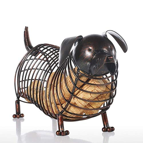 Statue Sculpture Decoration Resin Tooarts Dachshund Wine Cork Iron Container Craft Animal Ornament Gift Practical Chocolate Sculpture Home Decor