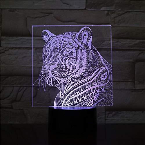 3D luz visible LED noche USB acrílico protección animal tigre cabeza dormitorio decoración regalo con múltiples cambios de color