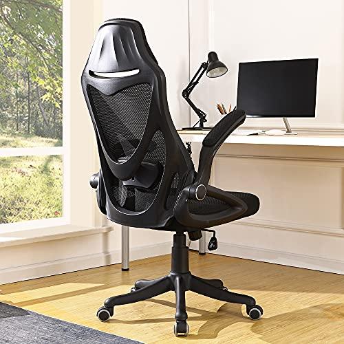 OWLN PHILI High Back Office Desk Chair with Flip Up Armrest, Mesh Backrest and adjuatable Lumbar Support (Black)