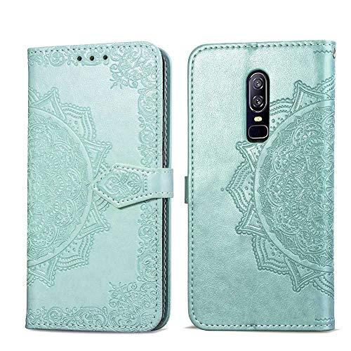 Bear Village Hülle für OnePlus 6, PU Lederhülle Handyhülle für OnePlus 6, Brieftasche Kratzfestes Magnet Handytasche mit Kartenfach, Grün