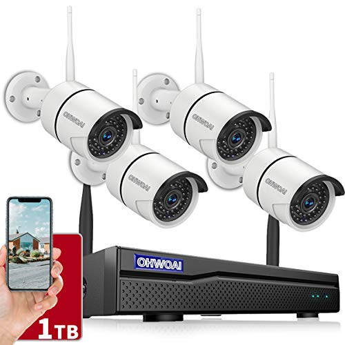 【8CH Expandable】Security Camera System Wireless Outdoor, 8 Channel 1080P NVR With 1TB Hard Drive, 4Pcs 1080P CCTV Cameras For Home,OHWOAI Surveillance Video security System,Outdoor Wireless IP Cameras