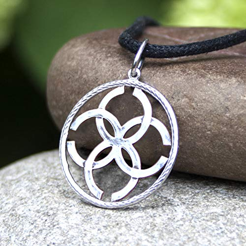 925 Sterling Silver Magic Pagan Wiccan Love Amulet Necklace -Wedding Symbol Pendant - Talisman of Strong Marriage Union and Family Love - Ethnic Folk Norse Jewelry for Women Brides Girls -Handmade
