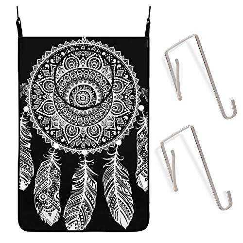 ACHOGI Indian Dream Catcher Hanging Laundry Hamper Bag with Free Adjustable Stainless Steel Door 2 Pcs Suction Cup Hooks, Best Choice for Holding Dirty Clothes and Saving Space