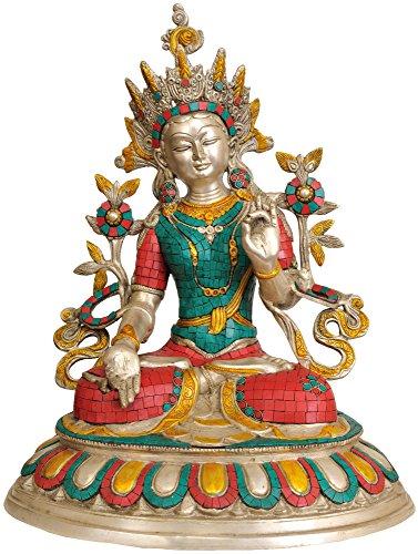 Exotic India Zbu93 Incrustation Statue de Blanc Bouddhiste de Tara (divinité)