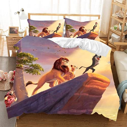 ZJJIAM Bedding Duvet Cover Polyester Animal Lion King 3D Print for Teenagers Bedding Home Textiles Design Anime (9.200 x 200 cm + 2 x 50 x 75 cm)