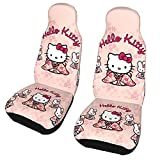 Anime 2 PCS Car Seat Covers Front Seat Protectors Cover Universal Car Accessories Fit Mat For Auto Cars Chair Truck SUV Seat(Hello Kitty-a2 )