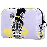 Reise-Kosmetikkoffer, Organizer, tragbare Künstler-Aufbewahrungstasche, modisches Zebra-Gesicht mit Hut-Schleife