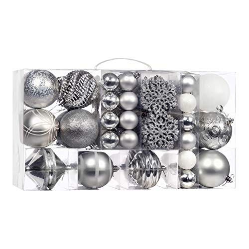 70-Pcs Silver Christmas Ball Ornaments Assorted Shatterproof Christmas Ball Set with Reusable Hand-held Gift Package for Xmas Tree Decoration