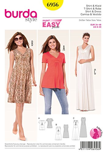 Burda Pattern 6956 Maternity T-Shirt and Dress, Size 8-20
