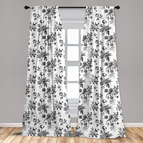 """Ambesonne Black and White Curtains, Vintage Floral Pattern Victorian Classic Royal Inspired New Modern Art, Window Treatments 2 Panel Set for Living Room Bedroom Decor, 56"""" x 84"""", Black and White"""