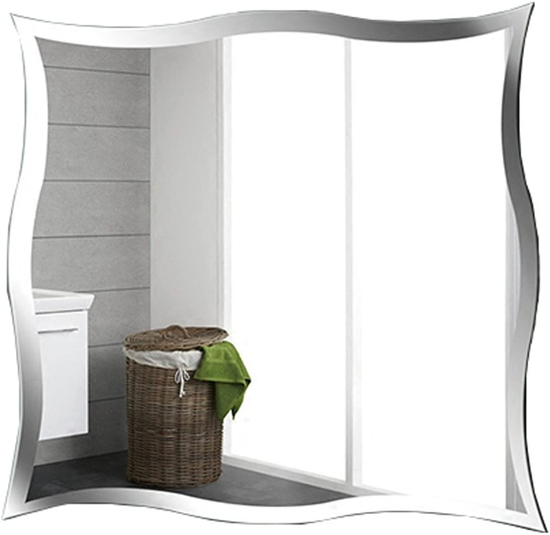 Lxn Wall-Mounted Frameless Minimalist Bathroom Makeup Mirror Toilet Waterproof Decorative Hanging Mirror Vanity Mirror