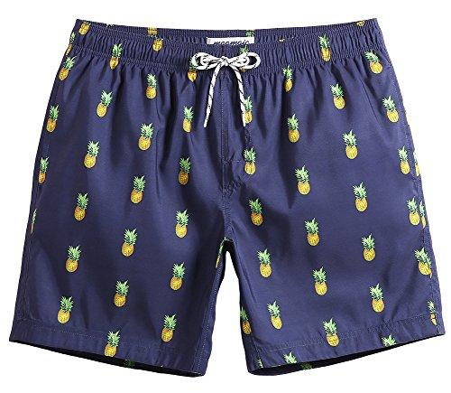 MaaMgic Costume Boxer da bangno da Uomo Stampato Ananas Fashion per Adolescenti pantalocini causaul a casa da Allenamento da Mare, Ananas Blu Navy, M