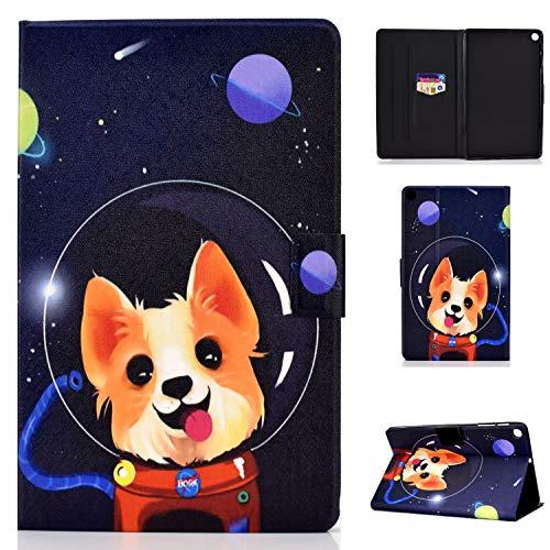 Auslbin Funda para Samsung Galaxy Tab S6 Lite 10.4 Pulgadas 2020(SM-P610/P615) Tablet,con Auto Estela/Sueño Función del Soporte y Ranuras de Tarjetas,Perro Espacial