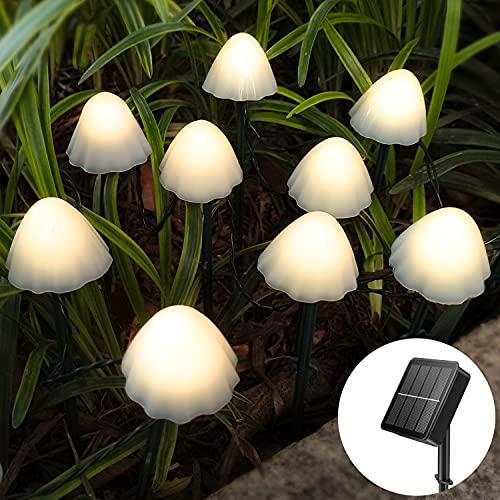 litogo Solarlampen für Außen Garten, 5M 20 Pilzlampe Outdoor LED Solar Gartenleuchten, 8 Modi Wasserdicht Solarleuchten für Topfdekoration Weihnachtsbaum Party Gartenzaun Garten Deko, Warmweiß