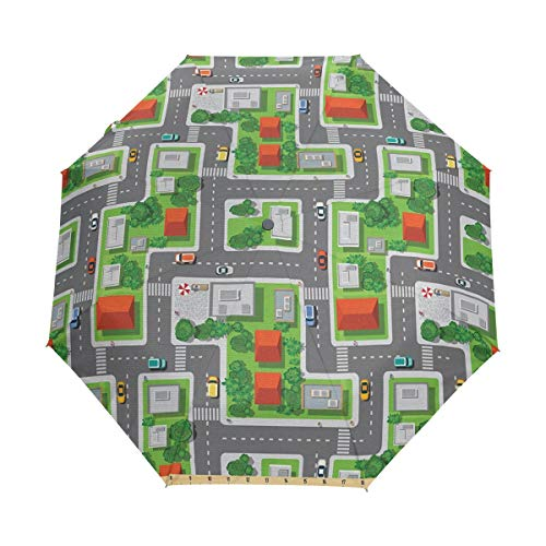 SUHETI Regenschirm Taschenschirm,Vogelperspektive Karte der abstrakten Stadt Straßen Straßen Häuser und Autos Cartoon Print,Auf Zu Automatik,windsicher,stabil