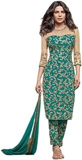 Monika Silk Mill Women's Georgette Embroidered Semi Stitched Salwar Suit