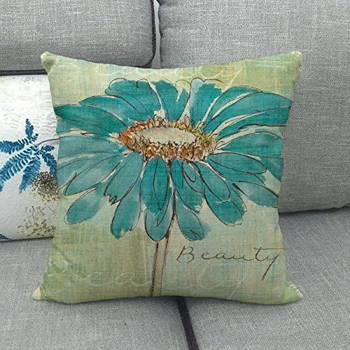 LPLH Funda de Almohada de Lino de crisantemo Azul Estilo a Funda de cojín 065-3_45 * 45cm