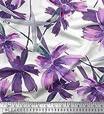 Soimoi Lila Baumwolle Batist Stoff Blätter & Wild Blume