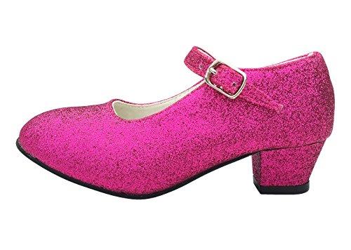 La Señorita Zapato Flamenco Baile Sevillanas niña Rosa Purpurina (Talla 30 - 19 cm)