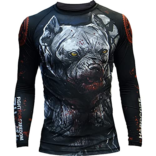 Rashguard Hardcore Training Pitbull City MMA BJJ Fitness Grappling Camiseta de compresión