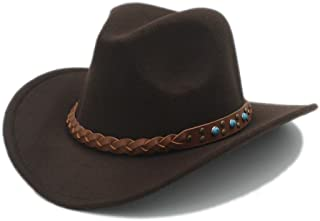 2019 Women 100% Wool Winter Spring Western Cowboy Hat for Womem Men Wide Brim Cowgirl Jazz Cap with Leather Toca Sombrero Cap Punk Belt 20 (Color : 6, Size : 57-58cm)