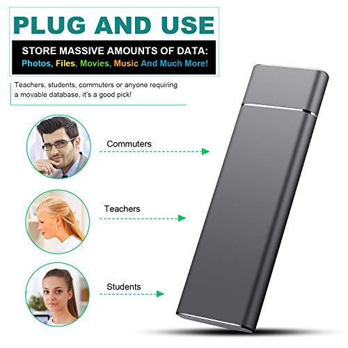 Prode Disco Duro Externo Portátil 1TB, Type C USB3.1 SATA HDD Almacenamiento para PC, Mac, Laptop, Chromebook, Xbox Slim (1tb, Azul) miniatura