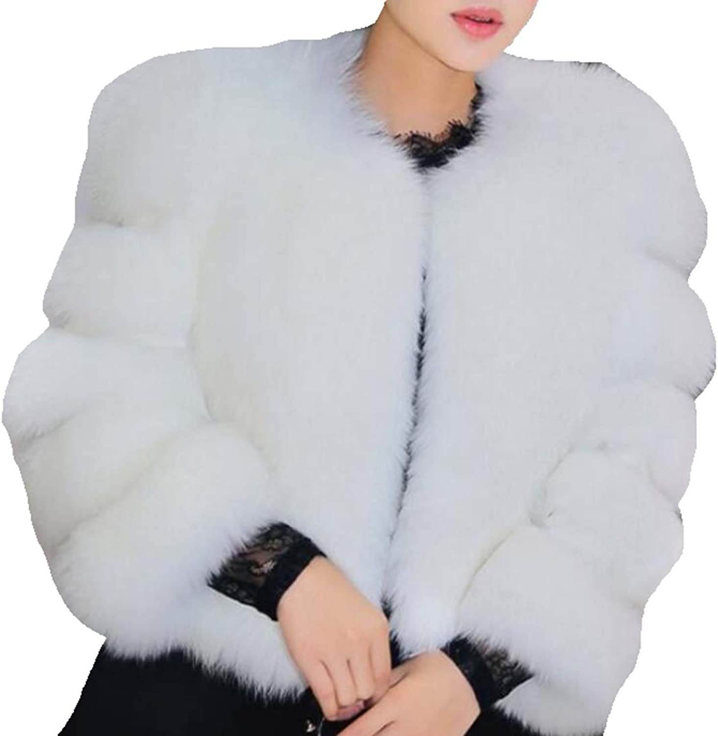 Esast Women Faux Fur Coat Long Sleeve Winter Warm VNeck Fluffy Wrap Jacket Outwear