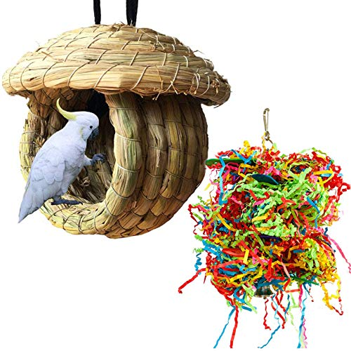 Hamiledyi Birdcage Straw Simulation Birdhouse 100% Natural Fiber - Cozy Resting Breeding Place for Birds - Provides Shelter from Cold Weather - Bird Hideaway from Predators(Large)