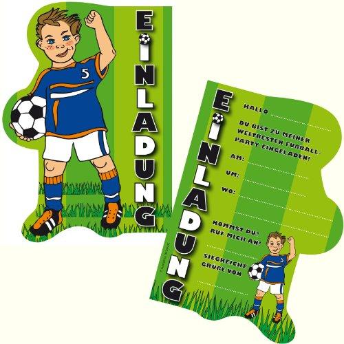 6 Einladungskarten * FUSSBALL * für Kindergeburtstag und Party von DEKOSPASS // Kinder Geburtstag Party Kinderparty Dinoparty Einladung Einladungen Karte Einladungs-Set Motto Mottoparty Fussballjunge Fussballer