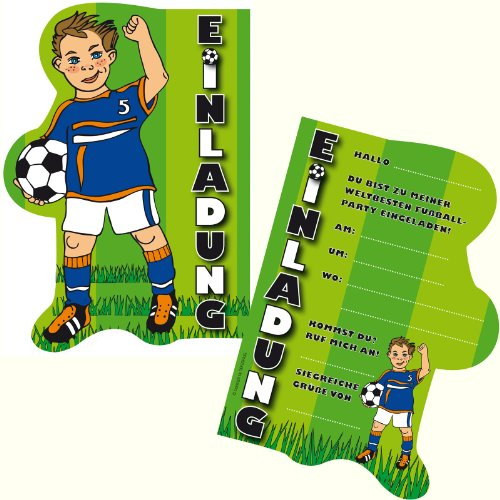 6 Einladungskarten * FUSSBALL * für Kindergeburtstag und Party von DEKOSPASS // Kinder Geburtstag Party Kinderparty Dinoparty Einladung Einladungen Karte Einladungs-Set Motto Mottoparty Fussballjunge Fussballer