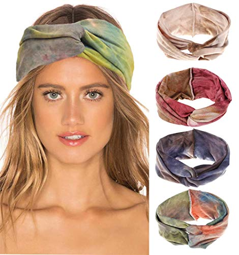 4Pcs Women Headband Cute Fashion Yoga Running Sport Athletic Travel Boho Knotted Headband Comfort Turban Criss Cross Twisted Head Wrap Hair Bands for Women Girls