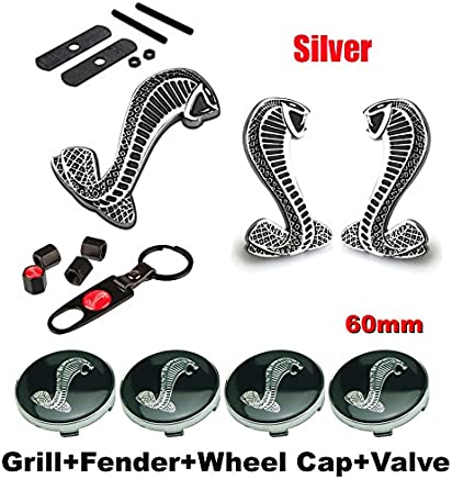 BENZEE 11pcs Set AM120 Cobra Front Grille Silver + Back Car Emblem Badge Sticker + Wheel