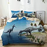 POJINNLA Duvet Cover Set Queen Size Decor Boys Girls Teens Bed Cover Animal Wild Suchomimus Dinosaur Print Comforter Cover Set with Zipper Ties 3 Pieces Easy to Care Duvet Quilt Cover