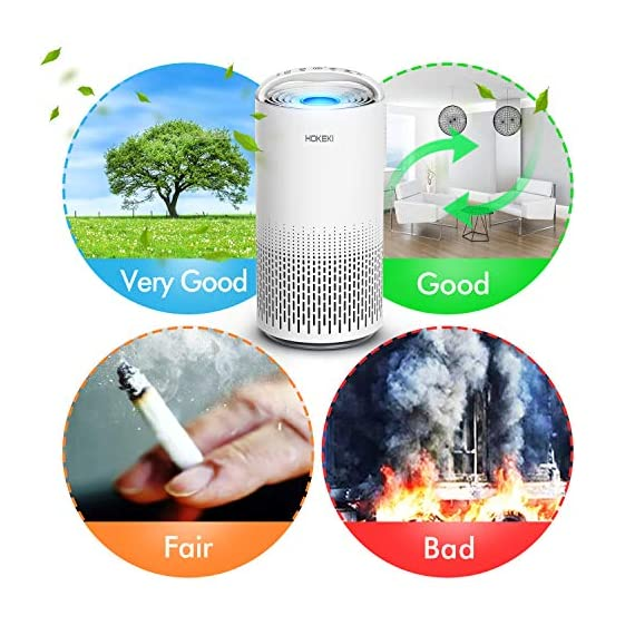 HOKEKI Air Purifier for Large Room with Air Quality Auto Sensor, True HEPA Air Cleaner Filter, 5-in-1 Odor Eliminator… 8 【Smart Air Quality Sensor & Indicator】This air freshener features unique AQ interface, built-in air quality sensor detects air quality at work, the interface will continuously diagnose the air and display the air quality level (blue-green-orange-red). you can adjust cleaning performance depending on the air quality. When the filters indicators light up, it is recommended to replace your filter every 4230 hours. 【5 in 1 Air Filter System】 3 speeds and 2 modes adjustment (low, medium, high speed, auto and sleep modes)in one button. In sleep mode, the noise is less than 29 dB, maximum noise below 52 dB at high speed. It is perfect for using in living rooms, bedrooms, children's rooms and offices. 【True HEPA Air Purifier】Equipped with pre-filter, HEPA filter, an activated carbon filter, easy to capture up dust, smoke, odor, pet dander and cooking around your living space and zero Ozone emission. The VK-6067B is suitable for rooms up to 18-31m², and the cleaning performance CADR (Clean Air Delivery Rate) is 220m³ / h3 fan speed and auto mode meet your needs.