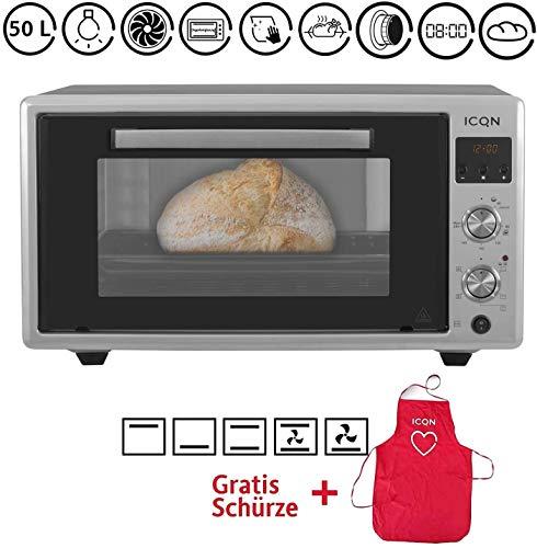 ICQN Minibackofen 50 Liter mit Digitalem Timer und Umluft | LED-Anzeige | Popup-Knöpfe | Pizza-Ofen | Mini Ofen | Innenbeleuchtung | Doppelverglasung | Turbolüfter | Drehspieß