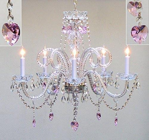 "Swarovski Crystal Trimmed Chandelier! Chandelier Lighting With Crystal Pink Hearts H25"" X W24"" - Perfect For Kids' And Girls Bedrooms!"