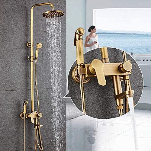 Vintage latón metal antiguo ducha sistema de ducha mano antiguo 4 función bidé baño agua caliente y fría grifo grifo bronce redondo Top Spray hermoso práctico