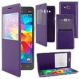 ebestStar - Funda Compatible con Samsung Grand Prime Galaxy G530F, Value Edition G531F Carcasa Ventana Vista Cover Cuero PU, Funda Libro Billetera, Violeta [Aparato: 144.8 x 72.1 x 8.6mm, 5.0'']