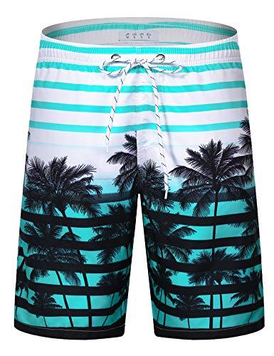 APTRO Herren Slim Fit Freizeit Shorts Casual Mode Urlaub Strand-Shorts Sommer Kokosnuss Palmen Mit Innenslip, Blau, L