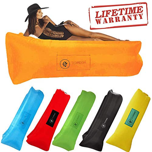 TechMinna Best Inflatable Lounger Blow Up Couch Beach and Camping Chair Air Sofa Inflatable Couch and Portable Hammock | Camping Accessories for Picnics and Festivals (Orange)