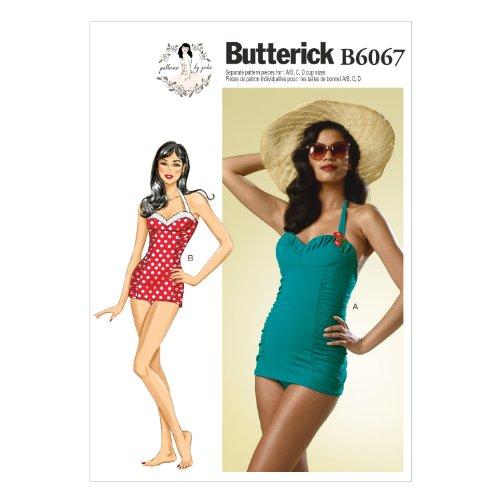 【Butterick】レトロワンピース水着の型紙セット サイズ:U6-8-10-12-14 *6067