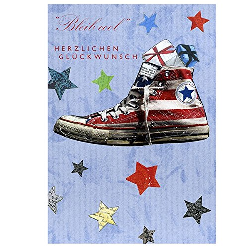 Swarovski Elements Geburtstag Grußkarte Handmade PopShot Bleib Cool Sportschuh 12x17 cm