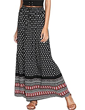 Milumia Women s Boho Vintage Print Pockets Side A Line Maxi Skirt Black XX-Large