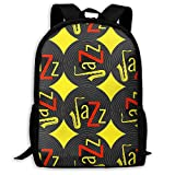 TRFashion Sac à Dos Jazz Concept Vinyl Record Yellow Red Fashion Outdoor Shoulders Bag Durable Travel Camping for Kids Backpacks