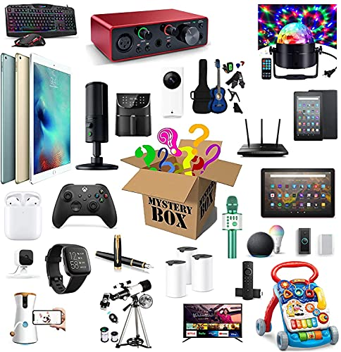WRISCG Scatola cieca Mystery Box Electronics,Mystery Boxes Random,Birthday Surprise Box,Lucky Box for Adults Surprise Gift,Such As Drones,Smart Watches,Gamepads And More,Best Gift for Holidays