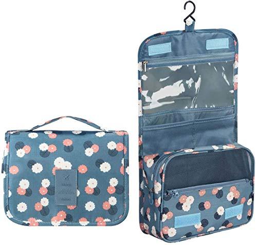 Maquillaje Organizador/Bolso cosmético/hogar Almacenamiento Paquete/baño con Colgantes Vacaciones con el Gancho Colgante(Blueflower)
