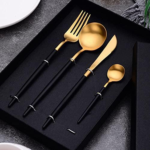 FaCaiTao Cuberterias Completas,304 4pcs Cuchillo de Acero Inoxidable Tenedor Cuchara Cubierta Cubierta-Traje de Oro Negro