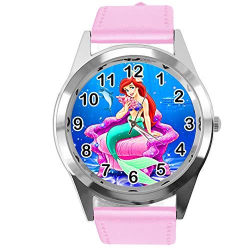Reloj redondo de cuero rosa para los fans del mar