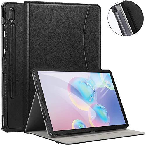 Ztotops Funda Carcasa para Samsung Galaxy Tab S6 2019, Cuero Premium Carcasa Cover con Pencil,Multiángulo, función Auto-Activa para Samsung Galaxy Tab S6 SM-860/SM-865 Tableta, Negro